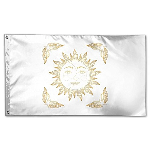 XinT Garden Flag Gold Sun Moon Stars Yard Flag House Wall Ba