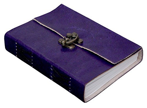 AOL Genuine Leather & Handmade Paper Diary Notebook Journal For Personal Use or Gift Size 4x6 (Purple) Antique Handmade Leather Bound Daily Notepad For Men & Women