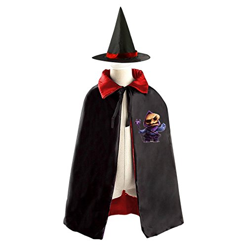 Skeletor with Wand Deluxe Unisex Kids Halloween Reversible Costumes Cloak Cape With Witch (Skeletor Cosplay Costume)