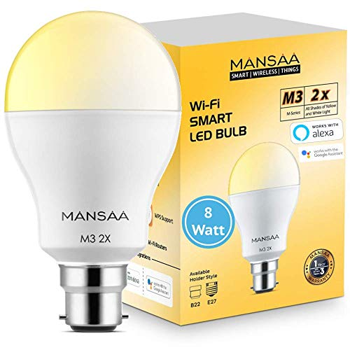 MANSAA® Smart LED Bulbs for Home Dual Color- 8W B22 Pin Holder Type Wi-Fi Dimmable Compatible with Google Home & Amazon…
