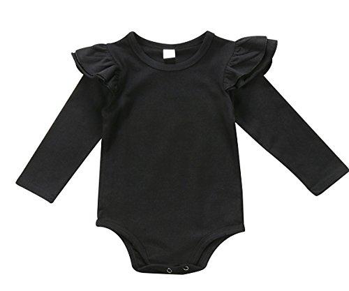 Infant Baby Girls Long Sleeve Bodysuit Romper Ruffle Fly - Import It All 142fad06f