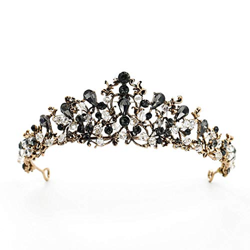 Catery Baroque Tiaras and Crowns Black Crystal Wedding Bride Queen Crowns for Women Decorative Princess Tiaras Hair Accessories for Prom ()