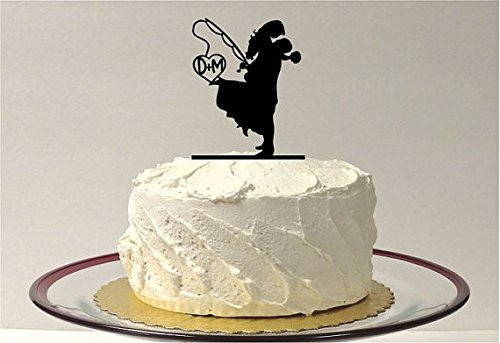 MADE IN THE USA Personalized Fishing Themed Wedding Cake Topper, Personalized Fishing Wedding Cake Topper, Fishing Cake Topper Silhouette Cake Topper Fish Bride and Groom, Mr & Mrs Cake -