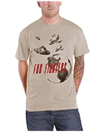 Foo Fighters T Shirt Distressed UFO Planets Band Logo Official Mens New Beige