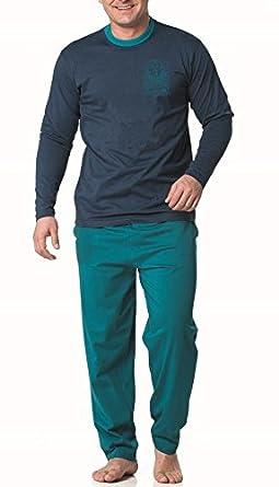1a0fda82f411a ☆ Herren Pyjama Schlafanzug lang Nachtwäsche Schlaf Anzug Dunkelblau M L XL  XXL  141511 ☆  Amazon.de  Bekleidung