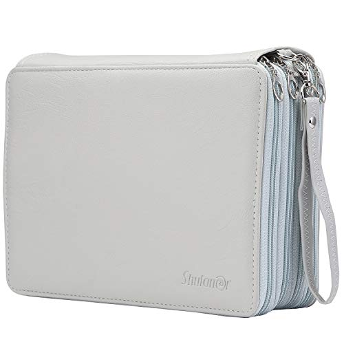 Shulaner 200 Slots Colored Pencil Case Organizer with Zipper PU Leather Large Capacity Pen Holder Bag (Gray)
