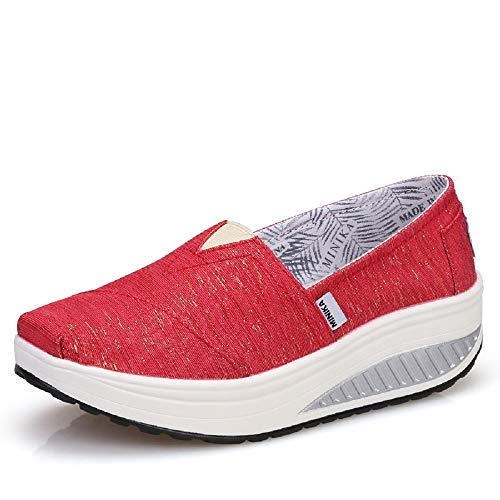 Qiusa Zapatillas de Deporte Rocker Sole Shoes Women Shake Platform (Color : Púrpura, tamaño : EU 37) Rojo