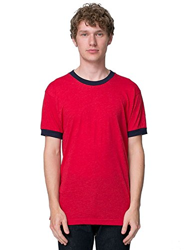American Apparel Men 50/50 Crewneck Ringer T-Shirt Size XS Heather Red/Navy ()