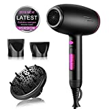 Professional Ionic Blow Dryer Hair Dryer with Diffuser Attachment Powerful 2500W Fast Dry Blow Dryer Ceramic Tourmaline Hair Dryer with AC Motor, Black