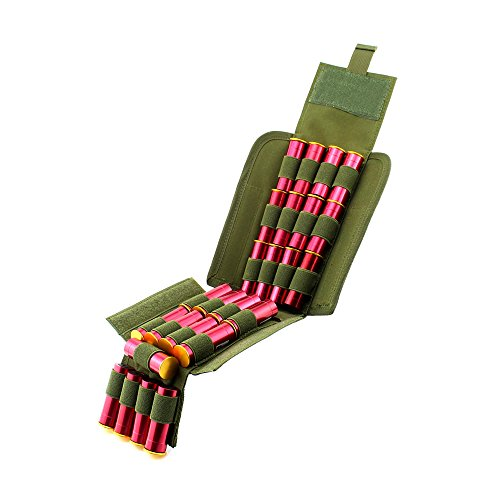 Depring MOLLE Tactical 25 Rounds Shotshell Pouch Holder Compact Foldable Shotgun Reload Ammo Mag Bag Quick Access Shotgun Shell Carrier Army Green