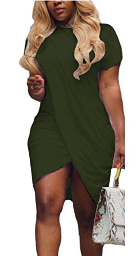 Sleeve Slit Midi 2 Womens Bodycon Dress Wrap Short Jaycargogo Eq4aPwP