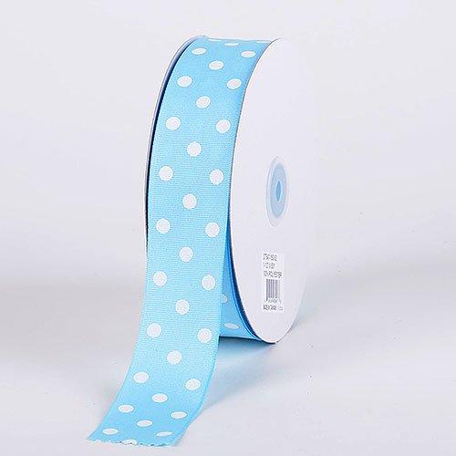 Blue Polka Dot Grosgrain Ribbon - Baby Blue with White Dots Grosgrain Ribbon Polka Dot 1-1/2 inch 50 Yards