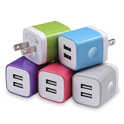 USB Wall Charger, STELECH Dual Port USB 2.1Amp Power Adapter Wall Charger Plug Charging Block Cube Compatible with iPhone X 8 7 6 Plus, iPad, Samsung, LG, Moto, Sony, Android Cell Phone (5-Pack) by STELECH
