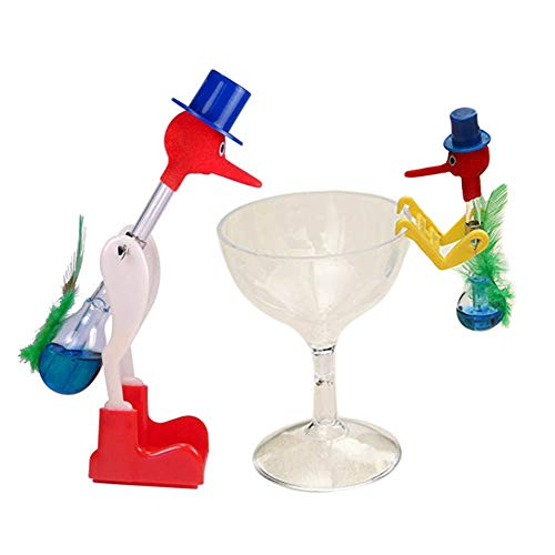 QBABY 2 Pcs Magic Drinking Birds Novelty Educational Toy Perpetual Birds with Gift - Toy Bird Drinking