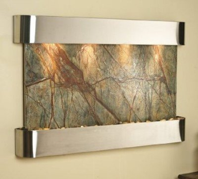 Adagio Sunrise Springs with Green Rainforest Marble in Stainless Steel Finish and Rounded Edges Fountain