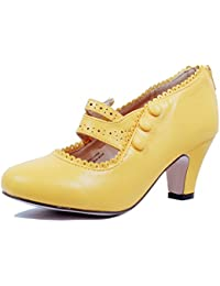 Womens Classic Retro Two Tone Embroidery - Wing Tip Lace Up Kitten Heel Oxford Pumps