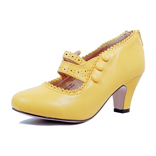 Guilty Shoes - Womens Classic Retro Two Tone Embroidery - Wing Tip Lace Up Kitten Heel Oxford Pumps (8 B(M) US, Yellowv2 Pu) by Guilty Shoes
