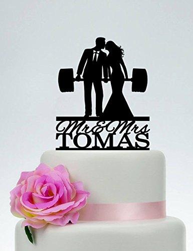 Wedding Cake Topper Fitness Couple Weight Lifting Groom And Bride Last Name Custom C219 Custom Cake Topper For Wedding Anniversary Cake Topper Funny Wedding Present For The Couple (Weight Lifting Cake Topper)