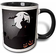 3dRose mug_200328_4 Halloween Haunted Castle with Pumpkins - Two Tone Black Mug, 11oz