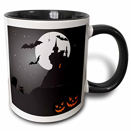 3dRose Boehm Graphics Holiday Halloween - Halloween Haunted Castle with Pumpkins - 15oz Two-Tone Black Mug -