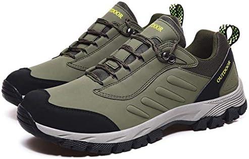 メンズウォーキングやハイキングシューズ通気性スポーツアウトドアシューズレースアップハイキングやトレッキング用ゴムアウトソール耐久性に優れたオールシーズンシューズ (Color : Army green, Size : 39)