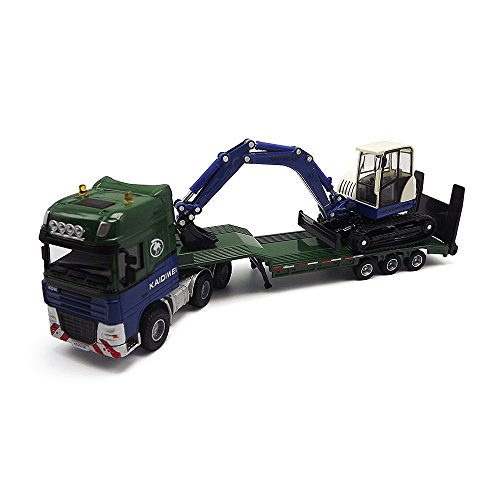eMart Children Alloy Diecast Vehicle Model Toy Engineering Truck Flatbed Trailer with Mini Excavator Car Simulation Scale Collection 1:50 Gift - Green