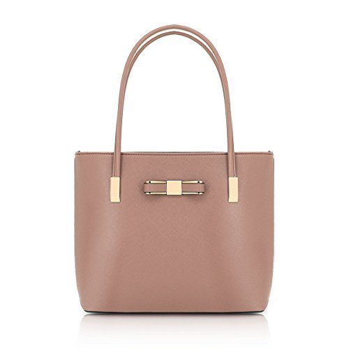 Messenger Detail Womens Handle Leather Tote Bag Shoulder J48 Top Beige Fashion Faux Bow Ladies Dark YYIw0