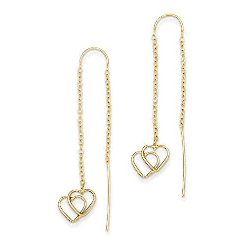 14k Yellow Gold Double Heart Tassel String Threader Earrings Drop Dangle Love Fine Jewelry Gifts For Women For Her ()
