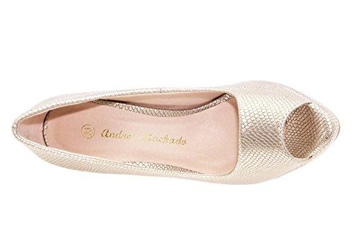 Andres Machado AM5003 - Elegante Peeptoes mit Pfennigabsatz, Plateau und Beiger Sohle.EU 32 bis 35/42 bis 45 Braut Gravur Gold