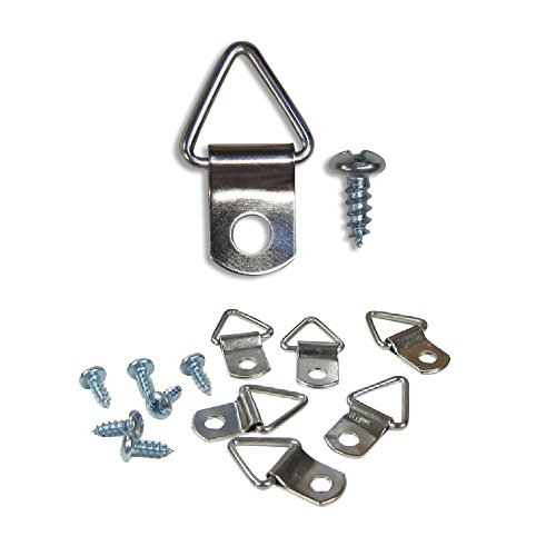 Frame Triangle Ring Hanger - Small D-Ring Picture Hanger with Screws - 100 Pack - Picture Hang Solutions - Eye Picture