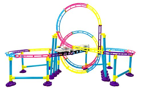 High Speed Roller Coaster Park Toy Bullet Train Building Set Tracks 77 Pcs