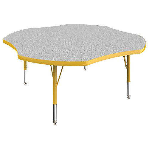 """ECR4Kids ECR4Kids Everyday 48"""" Clover School Activity Table, Toddler Legs w/Swivel Glides, Adjustable Height 15-23 inch (Grey/Yellow) price tips cheap"""