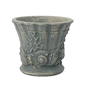 Great Deal Furniture Fern Outdoor Antique Grey Finish Light Weight Concrete Urn 18
