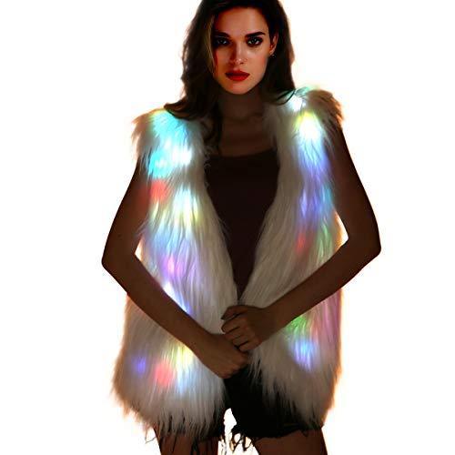 Led Coat Jacket - Women-Light-Up-Vest Furry-Faux-Fur-Waistcoat Glowing White Fuzzy Burning Man Costumes, Rave Wear Clothes Festival Outfit (LED Vest -Medium)