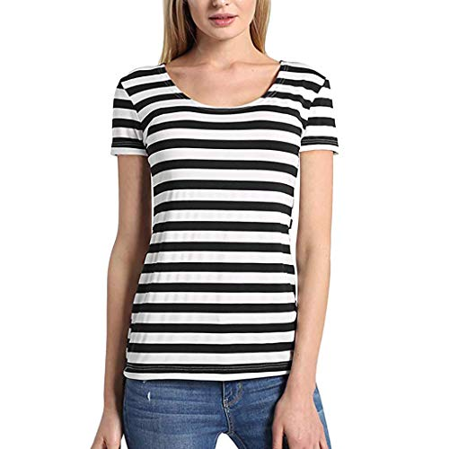Answerl Women's Classic-Fit Short-Sleeve Crewneck T-Shirt Stripe Print Basic Tunic Tops Blouse Shirts Black