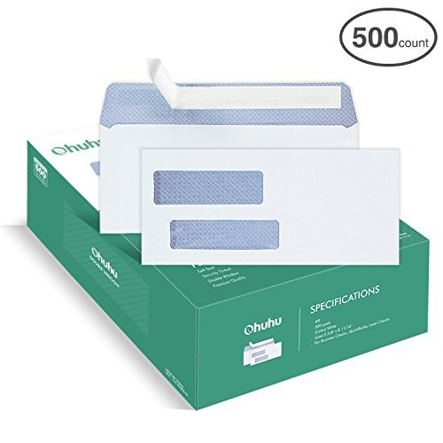 Ohuhu 500 Pack # 8 Double Window Envelope SELF Seal Adhesive Tinted Security Envelopes Quickbooks Check, Business Check, Documents Secure Mailing, 3 5/8