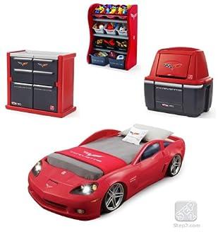 Car Bedroom Furniture Red Corvette Dresser Storage Combo