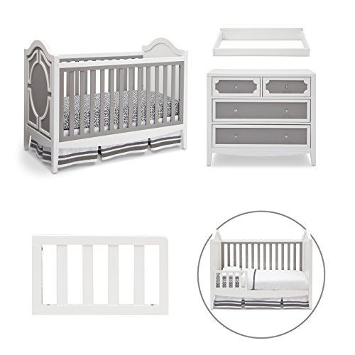 Simmons Kids Hollywood 4-Piece Nursery Furniture Set including Crib, 4 Drawer Dresser, Changing Top and Guardrail, White/Grey