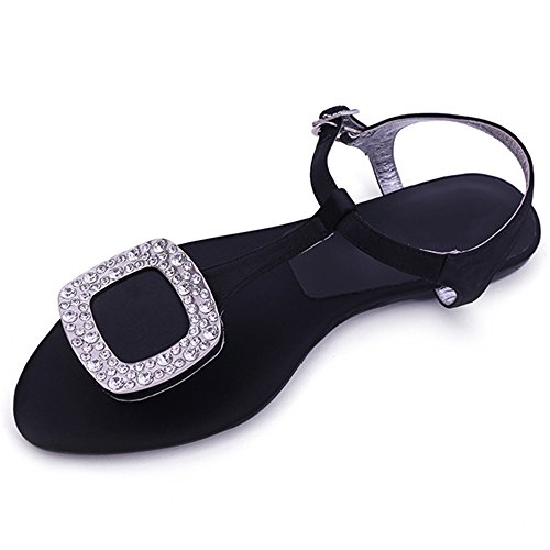 Beach Simple Gray Buckle Black Size Student uk3 Square Size Toe Summer color Clip Sandals cn34 Eu35 Female Korean optional Bottom Rhinestone Xiaolin Flat TBS4Yn7W
