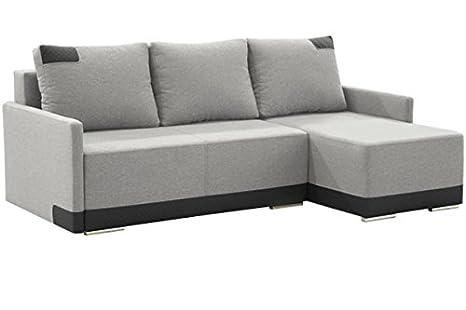JAZZ Grande Gris Tela Esquina sofá Cama con Almacenamiento ...