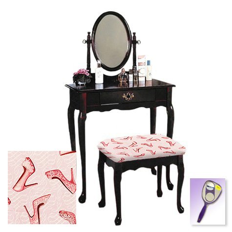 New Cherry Finish Queen Anne Make Up Vanity Table with Mirror & Shoe Themed Bench