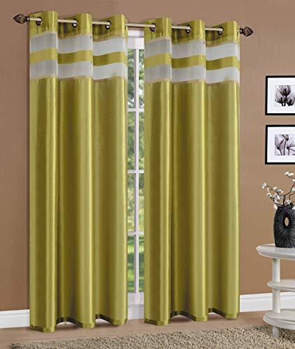 (Sapphire Home 2 Grommet Faux Silk Window Curtain Panels 84