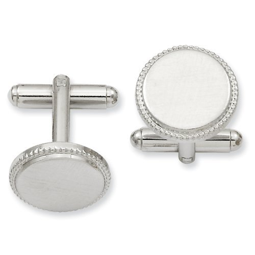 Kelly Waters Rhodium-plated Florentined Round Beaded Cuff Links