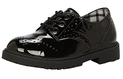 DADAWEN Children's Boy's Girl's Oxford Dress Shoe (Toddler/Little Kid/Big Kid) Black US Size 12 M Little (Us Size Chart Kids)