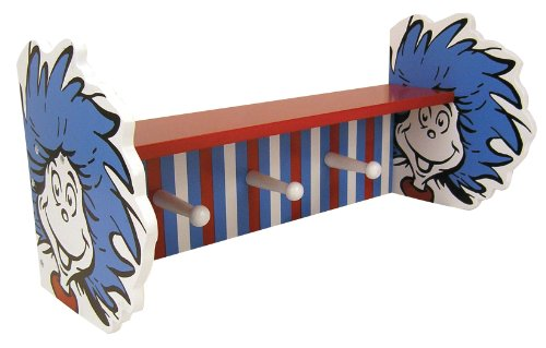 Trend Lab Dr. Seuss Thing 1 and Thing 2 Shelf with Pegs, Red/Blue ()