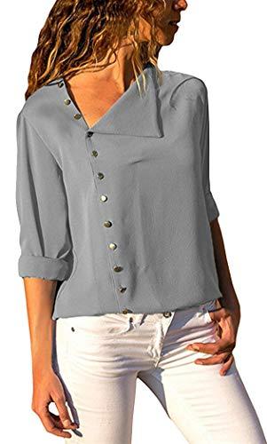 de Femme en Gris Manches Casual Base Tops Longues Chemisier Tunique Vrac Shirt Yeesea Bouton zAdxx0