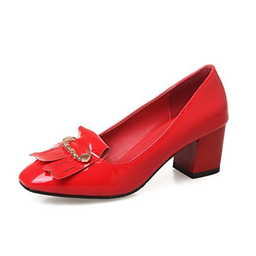 Amoonyfashion Kvinnor Fyrkantig Sluten Tå Dra På Lackläder Fast Kattunge Klackar Pumpar-skor Röda