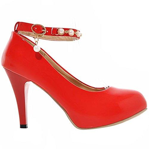 YE Damen Knöchelriemchen Pumps Stiletto High Heels Plateau mit Schnallen und Strass Elegant Schuhe Rot