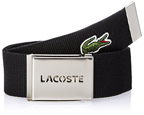 Lacoste Men's L.12.12 Textile Signature Croc Logo Belt, Black, 110