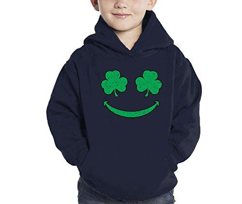 Toddler Little Boy Smiling Shamrocks - Clover - St Patricks Day Hoodie Sweatshirt (5/6, Navy Blue)